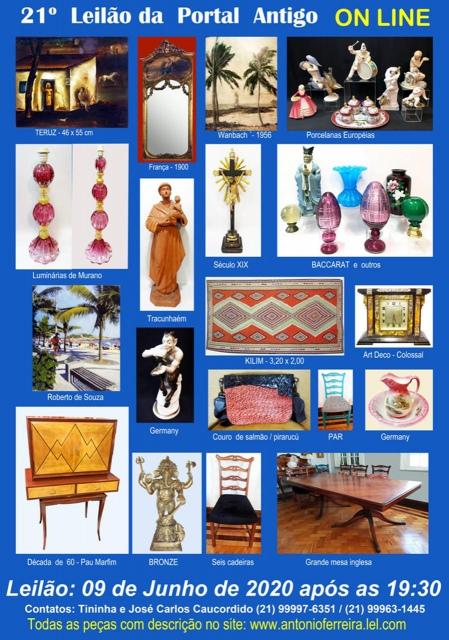 21º Leilão do Portal Antigo - Obras de Arte e peças de coleções  -  Somente ON LINE