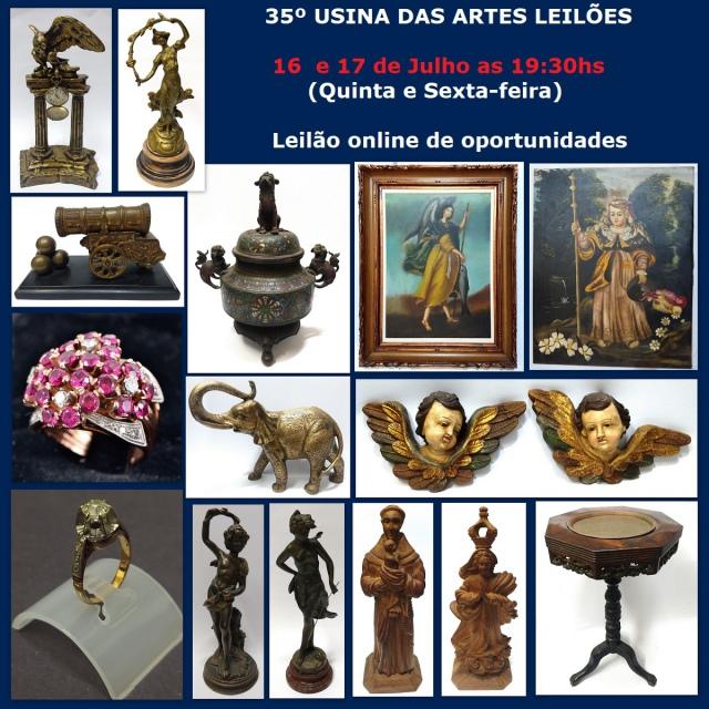 35º LEILÃO USINA DAS ARTES LEILÕES - COM PEÇAS RESIDENCIAIS, ANTIGUIDADES, COLECIONISMO E DECORAÇÃO