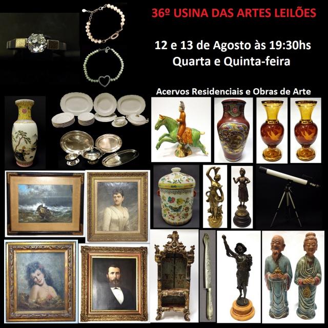 36º LEILÃO USINA DAS ARTES - COM PEÇAS RESIDENCIAIS, ARTES, COLECIONISMO, ANTIGUIDADES E DECORAÇÃO